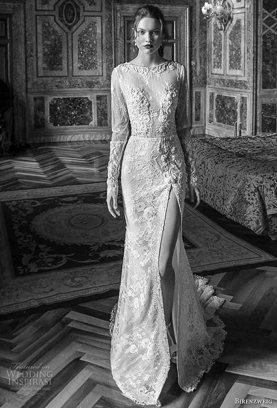 birenzweig 2018 bridal long sleeves jewel neck full embellishment side slit skirt elegant fit and flare wedding dress open back short train (7) mv