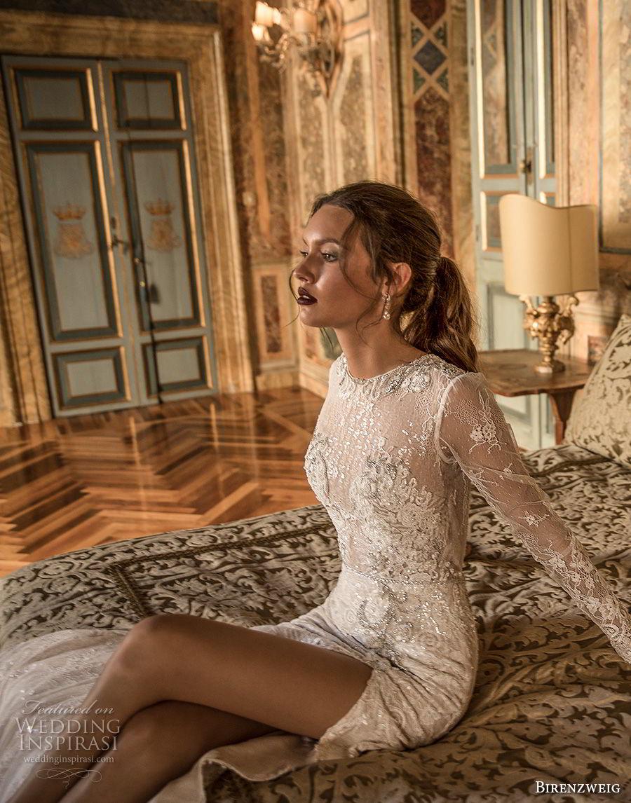 birenzweig 2018 bridal long sleeves jewel neck full embellishment side slit skirt elegant fit and flare wedding dress open back short train (7) zv