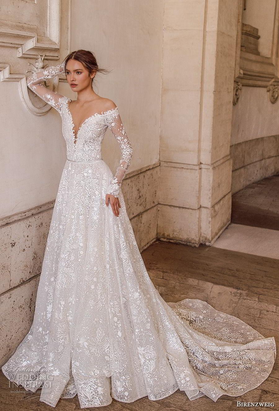 birenzweig 2018 bridal long sleeves off the shoulder deep plunging v neck full embellishment a  line wedding dress sheer v back chapel train (1) mv