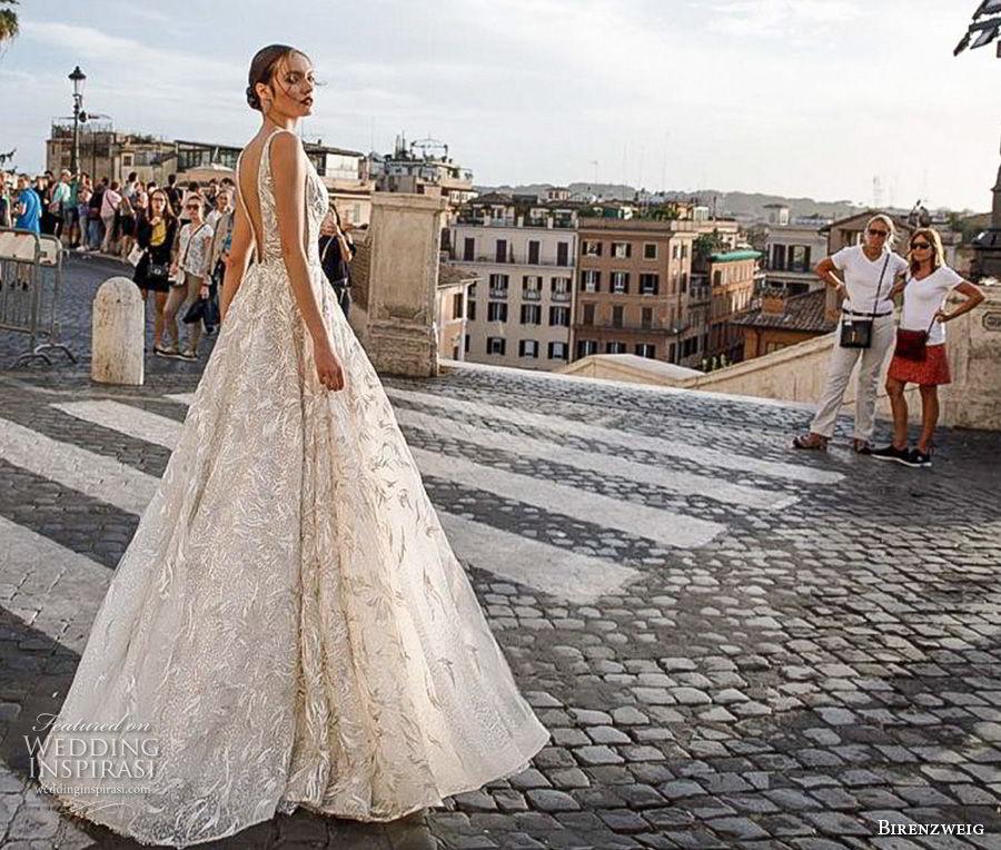 birenzweig 2018 bridal sleeveless deep v neck full embellishment open side elegant sexy soft a  line wedding dress open back sweep train (9) bv