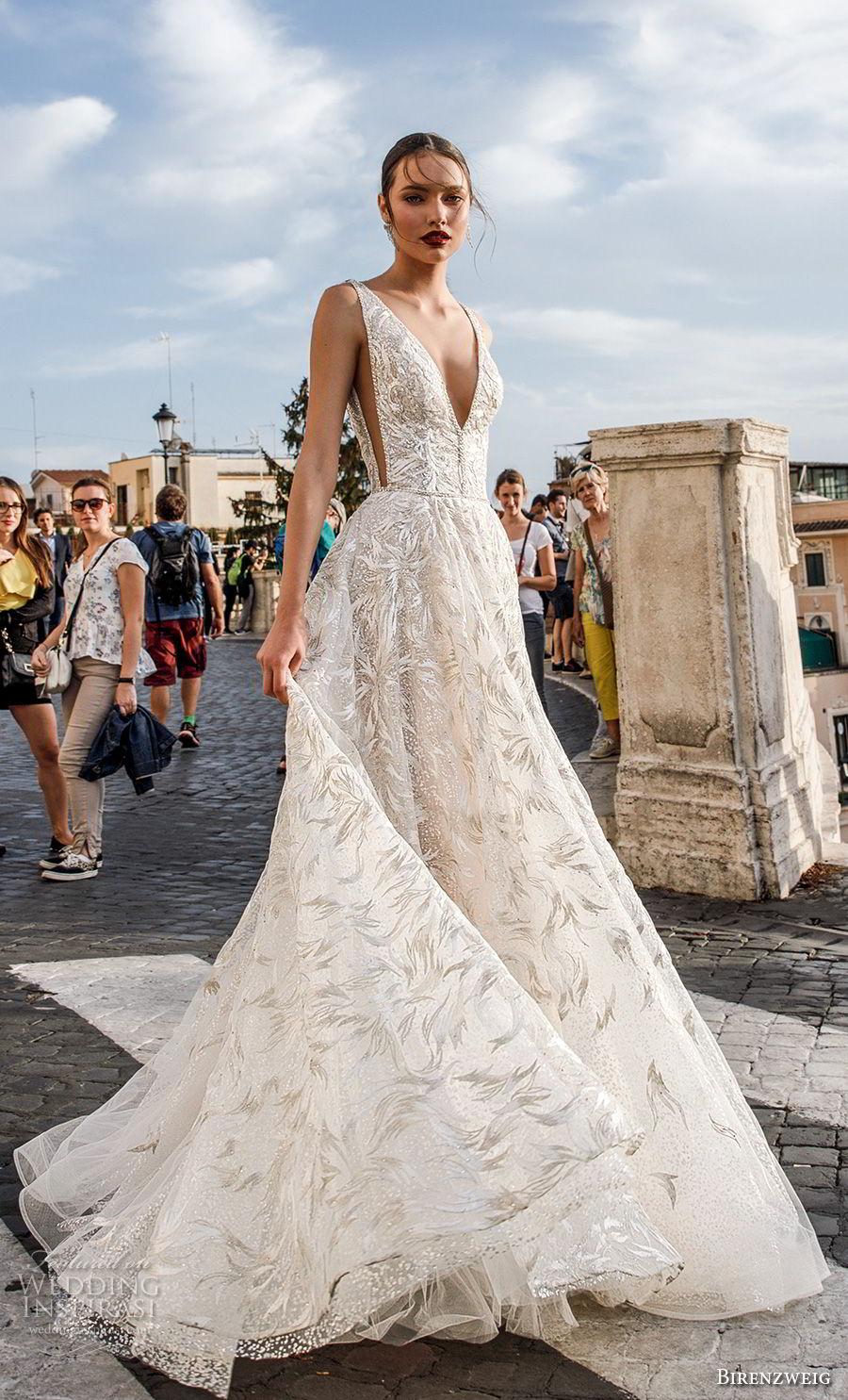 birenzweig 2018 bridal sleeveless deep v neck full embellishment open side elegant sexy soft a  line wedding dress open back sweep train (9) mv
