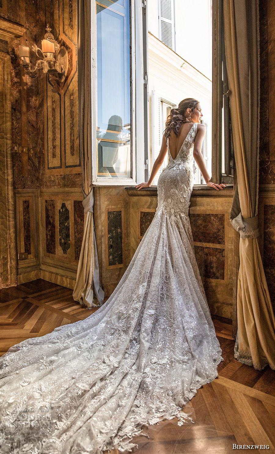 birenzweig 2018 bridal sleeveless deep v neck full embellishment open side elegant trumpet wredding dress open v back chapel train (6) bv