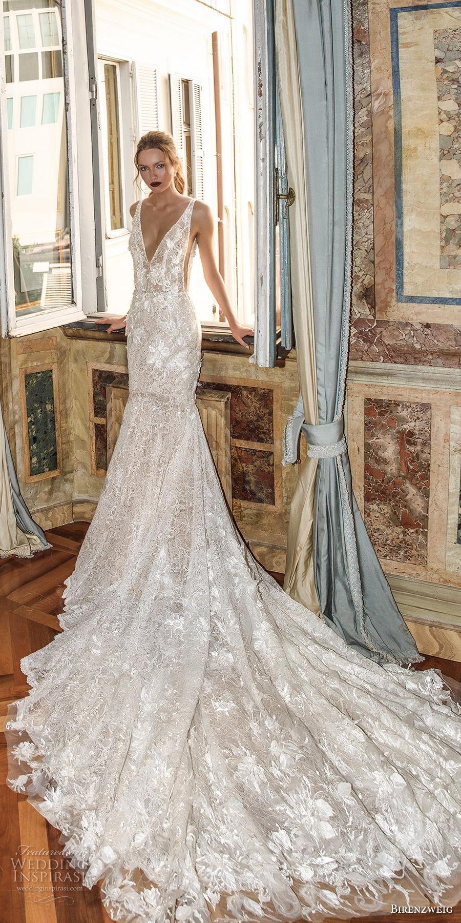 birenzweig 2018 bridal sleeveless deep v neck full embellishment open side elegant trumpet wredding dress open v back chapel train (6) mv