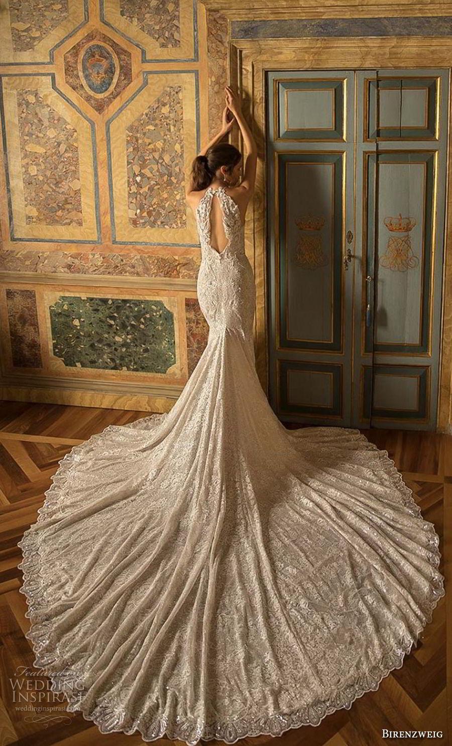birenzweig 2018 bridal sleeveless halter neck full embellshemt elegant fit and flare wedding dress keyhole back royal train (17) bv