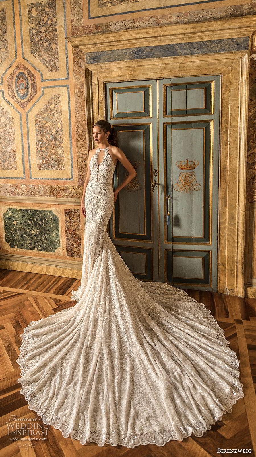 birenzweig 2018 bridal sleeveless halter neck full embellshemt elegant fit and flare wedding dress keyhole back royal train (17) mv