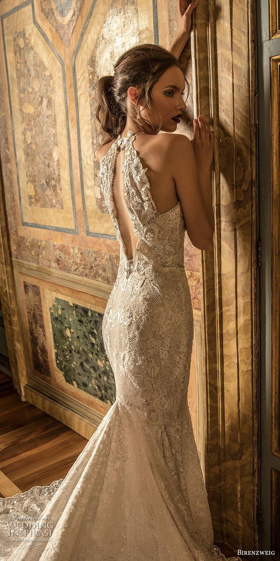 birenzweig 2018 bridal sleeveless halter neck full embellshemt elegant fit and flare wedding dress keyhole back royal train (17) zbv