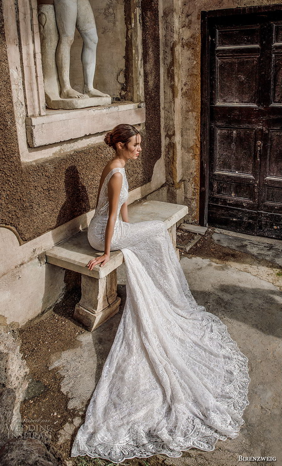 birenzweig 2018 bridal sleeveless illusion bateau sweetheart neckline full embellishment elegant fit and flare sheath wedding dress open back chapel train (3) bv