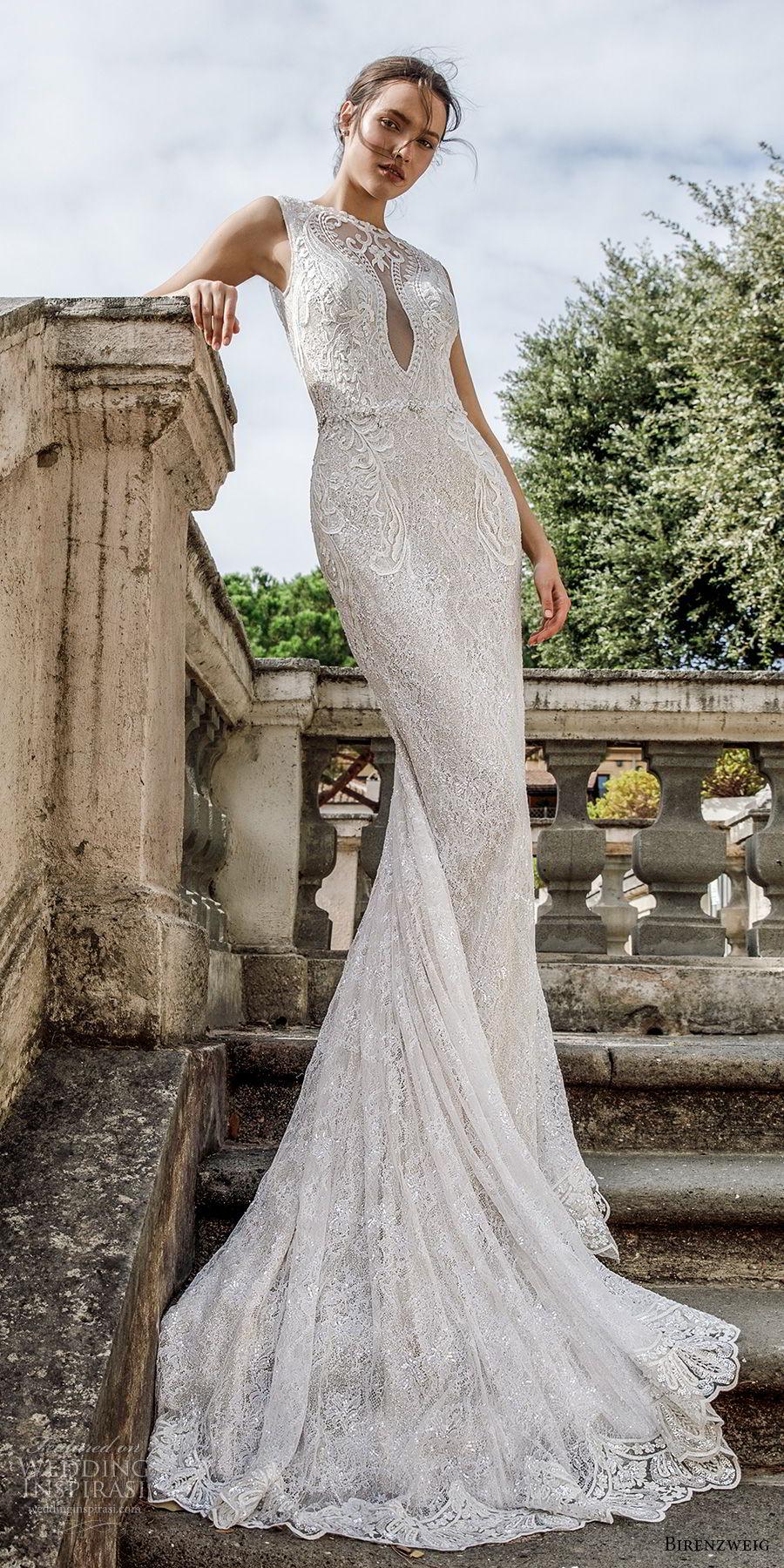 birenzweig 2018 bridal sleeveless illusion bateau sweetheart neckline full embellishment elegant fit and flare sheath wedding dress open back chapel train (3) mv