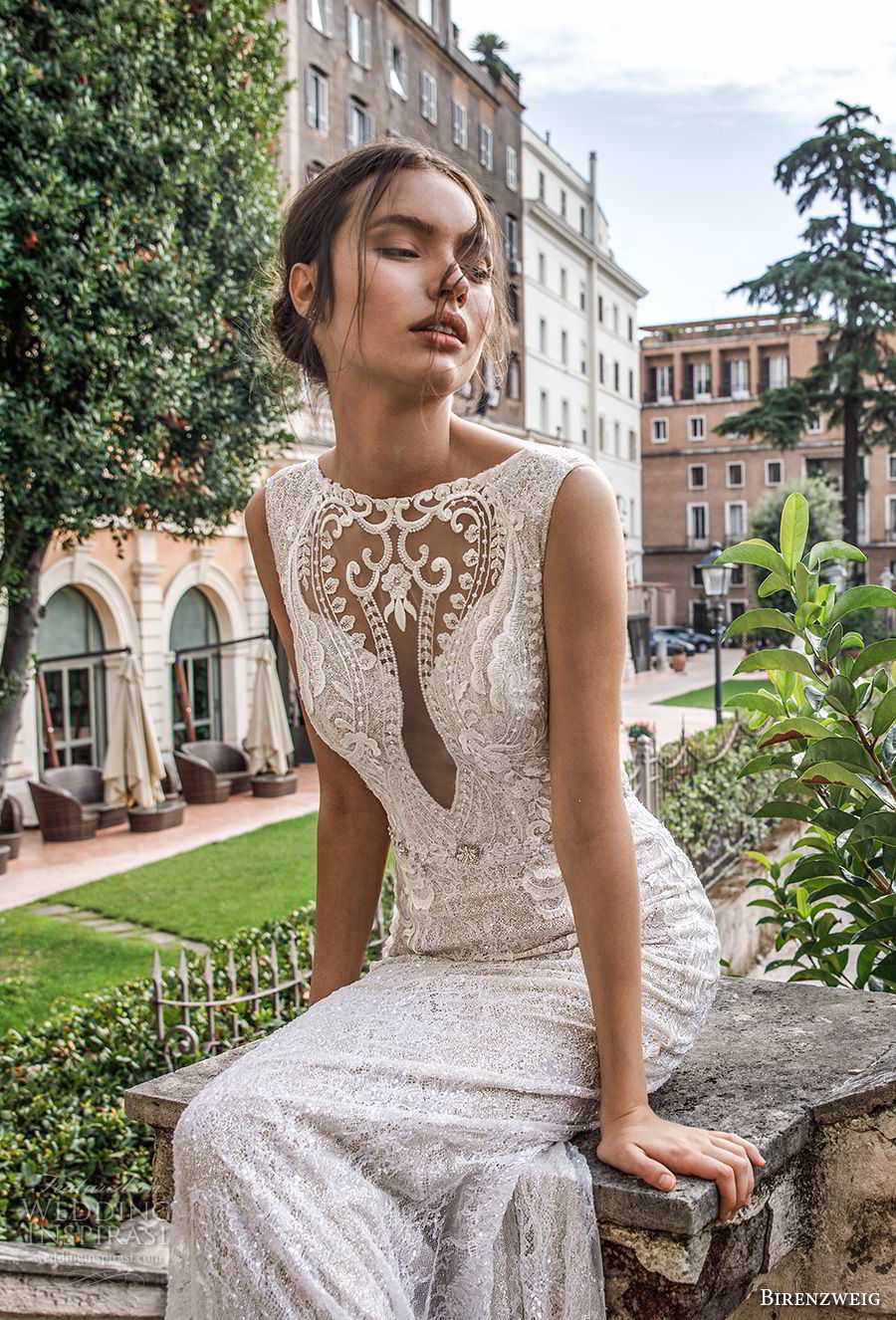 birenzweig 2018 bridal sleeveless illusion bateau sweetheart neckline full embellishment elegant fit and flare sheath wedding dress open back chapel train (3) zv