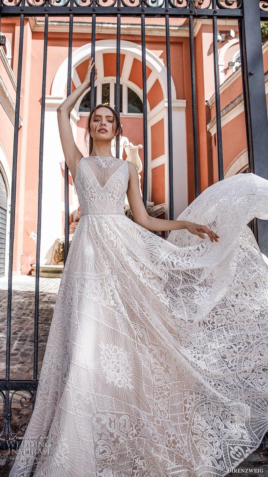 birenzweig 2018 bridal sleeveless illusion jewel v neck full embellishment romantic soft a  line wedding dress chapel train (4) mv