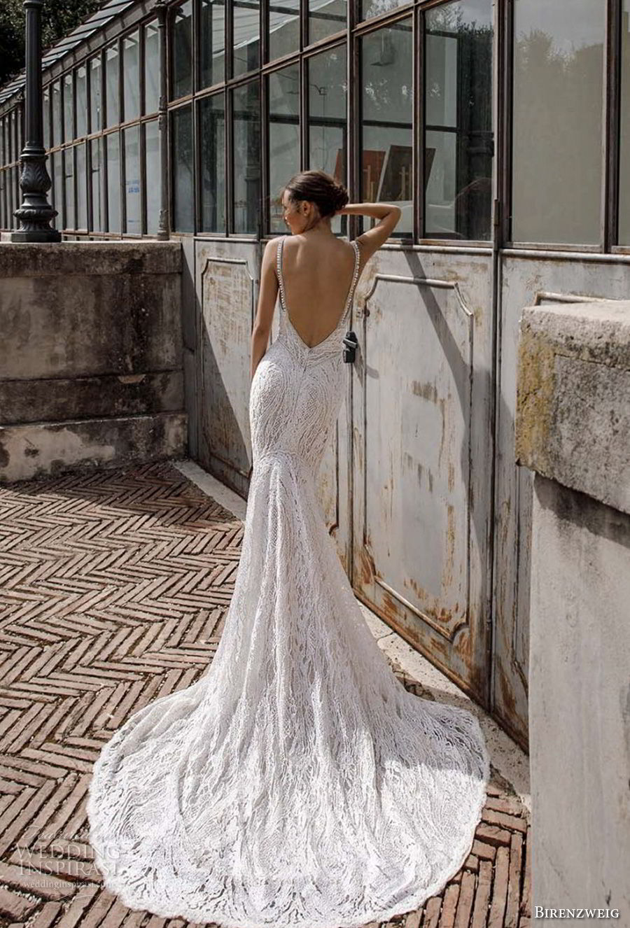 birenzweig 2018 bridal sleeveless spaghetti strap deep plunging sweetheart neckline elegant sexy fit and flare wedding dress open back chapel train (13) bv