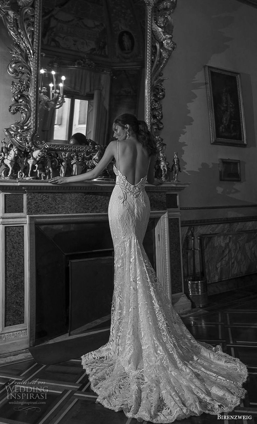 birenzweig 2018 bridal spaghetti strap deep plunging sweetheart neckline full embellishment fit and flare wedding dress open back chapel train (16) bv
