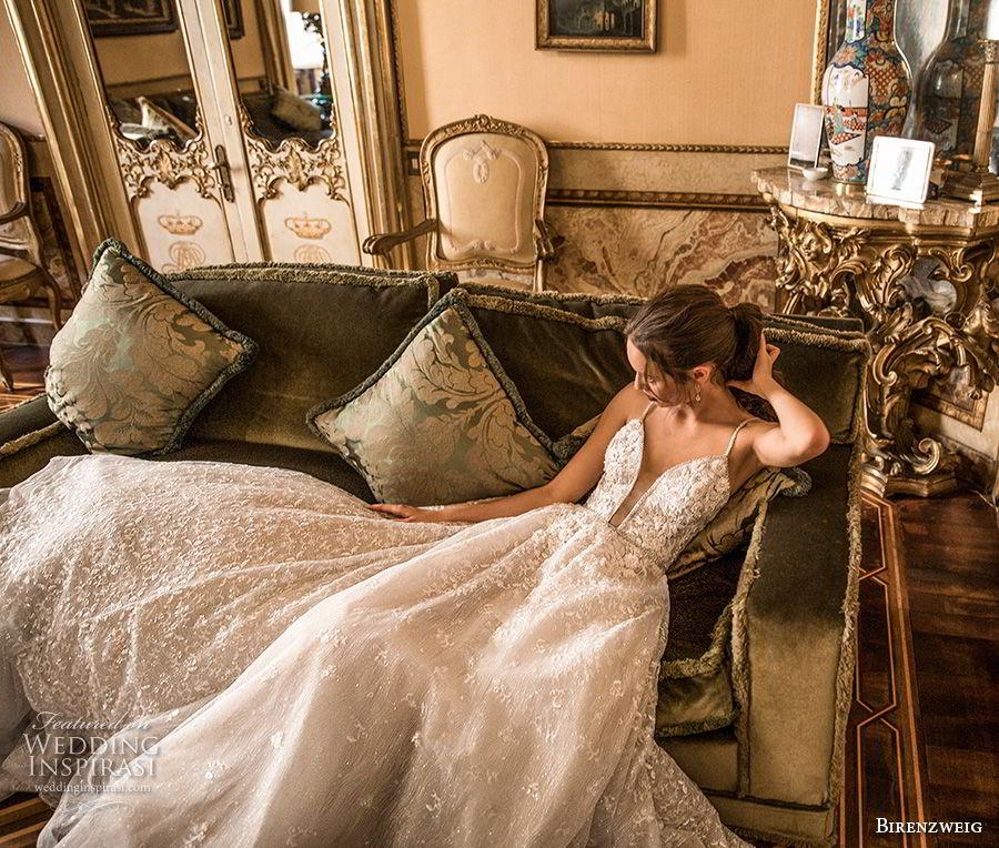 birenzweig 2018 bridal spaghetti strap deep plunging sweetheart neckline heavily embellished bodice romantic a  line wedding dress open back chapel train (14) mv