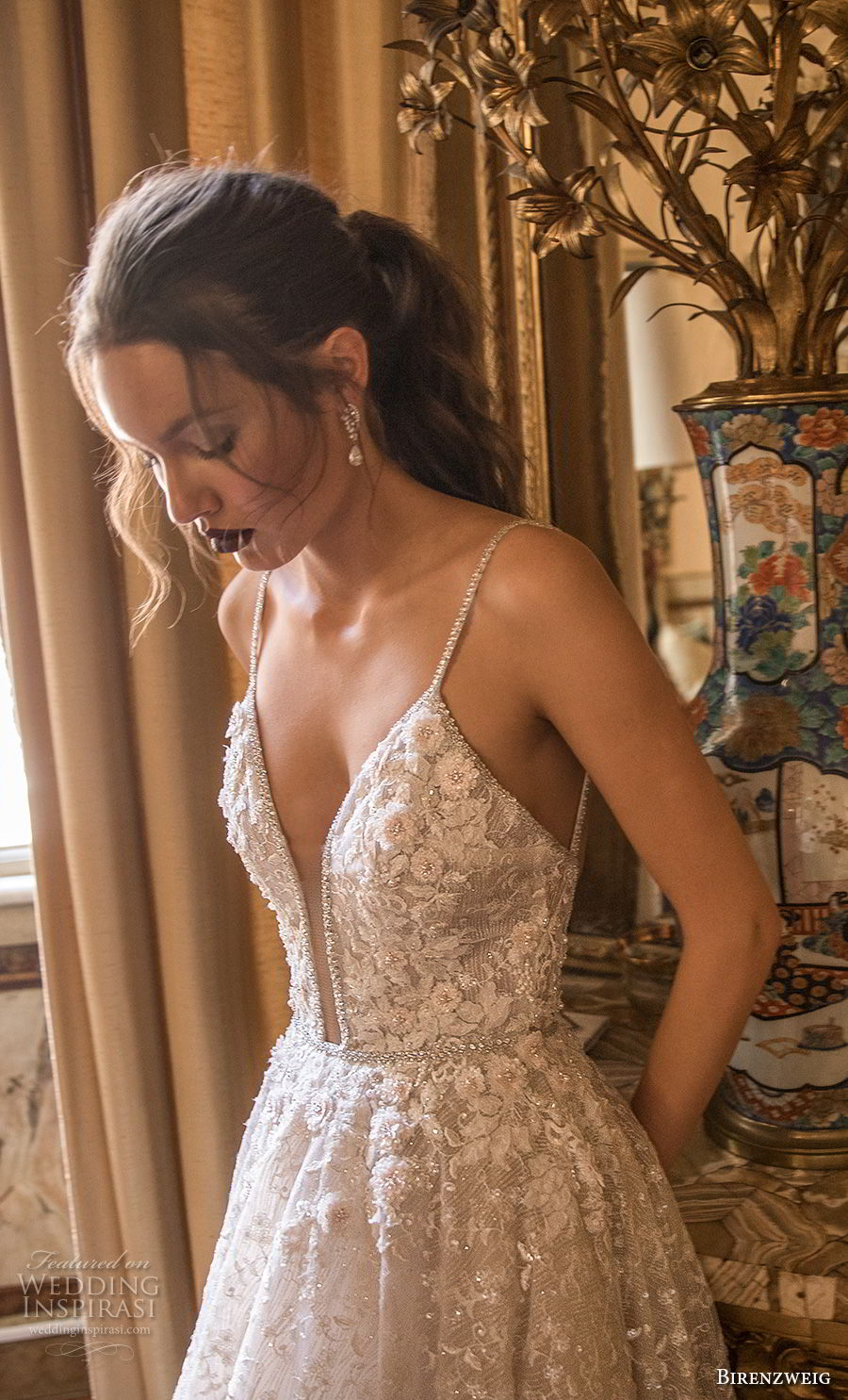 birenzweig 2018 bridal spaghetti strap deep plunging sweetheart neckline heavily embellished bodice romantic a  line wedding dress open back chapel train (14) zv