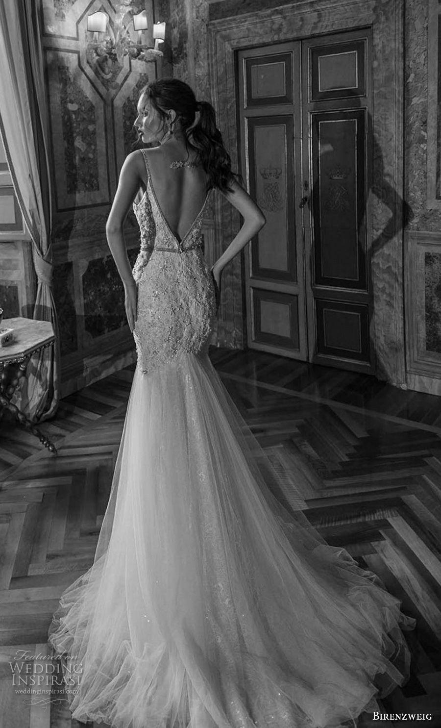 birenzweig 2018 bridal spaghetti strap deep plunging sweetheart neckline heavily embellished bodice sexy elegant trumpet wedding dress open v back chapel train (15) bv