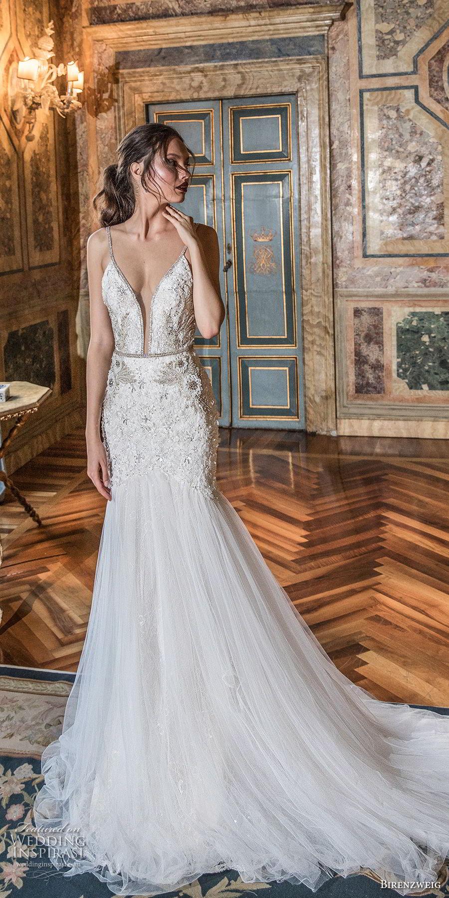 birenzweig 2018 bridal spaghetti strap deep plunging sweetheart neckline heavily embellished bodice sexy elegant trumpet wedding dress open v back chapel train (15) mv