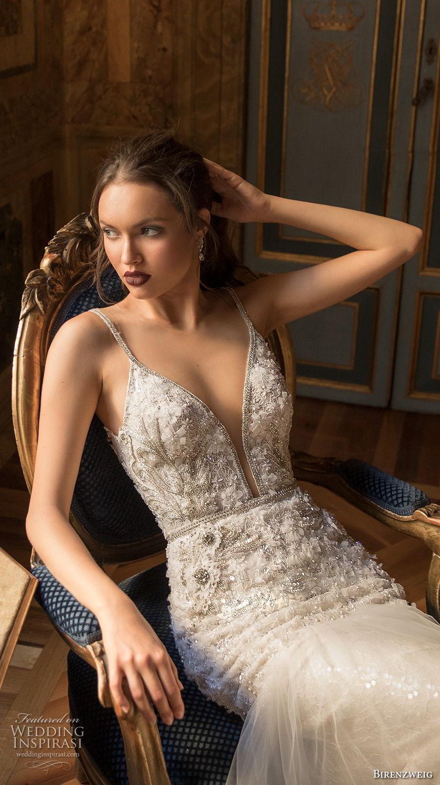 birenzweig 2018 bridal spaghetti strap deep plunging sweetheart neckline heavily embellished bodice sexy elegant trumpet wedding dress open v back chapel train (15) zv