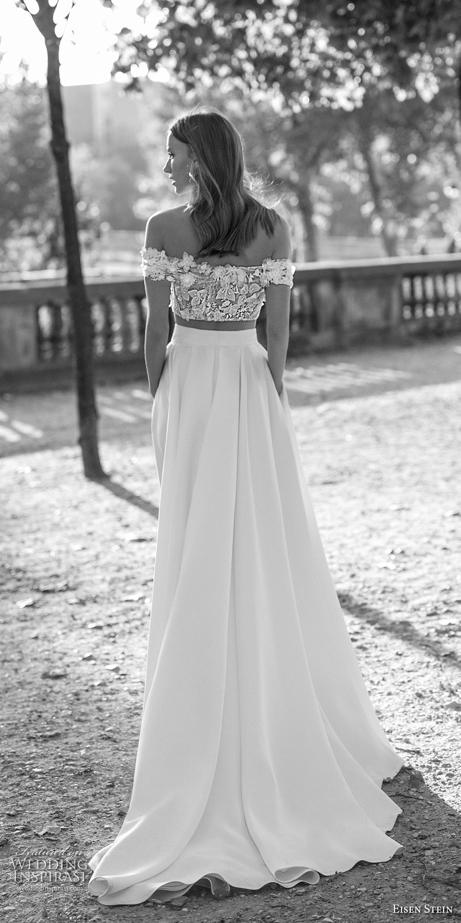 eisen stein 2018 bridal off the shoulder straight across neckline crop top high slit skirt romantic a  line wedding dress with pockets sweep train (1)  bv