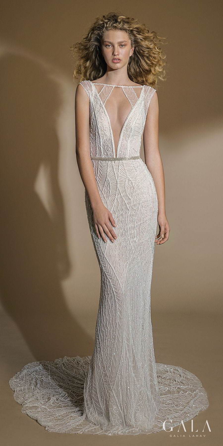 galia lahav gala 2019 bridal cap sleeves bateau deep plunging v neck full embellishment art deco elegant fit and flare sheath wedding dress open back chapel train (101) mv