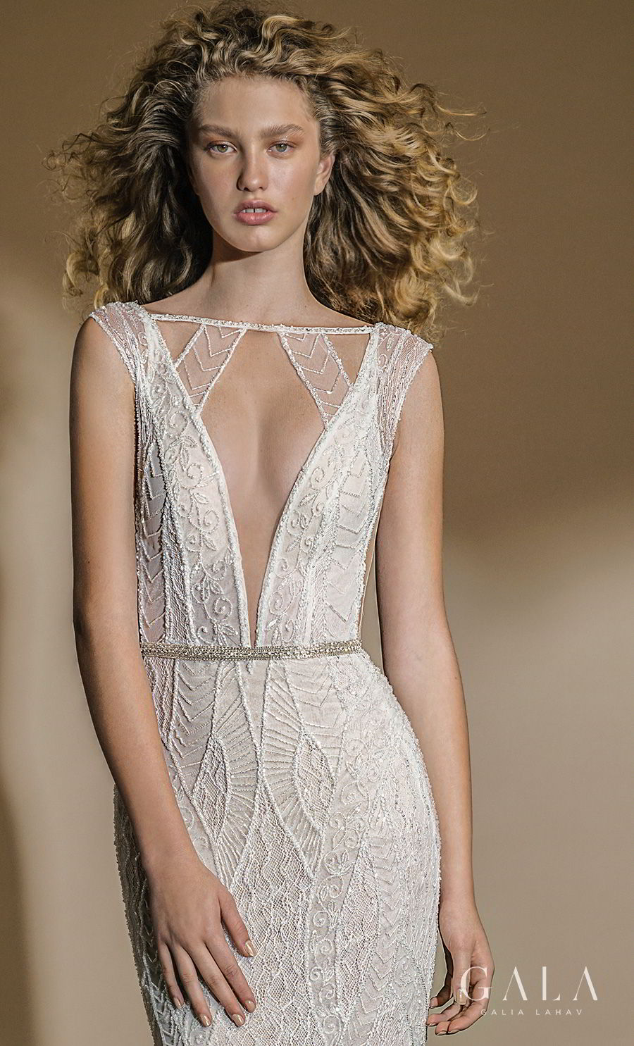galia lahav gala 2019 bridal cap sleeves bateau deep plunging v neck full embellishment art deco elegant fit and flare sheath wedding dress open back chapel train (101) zv