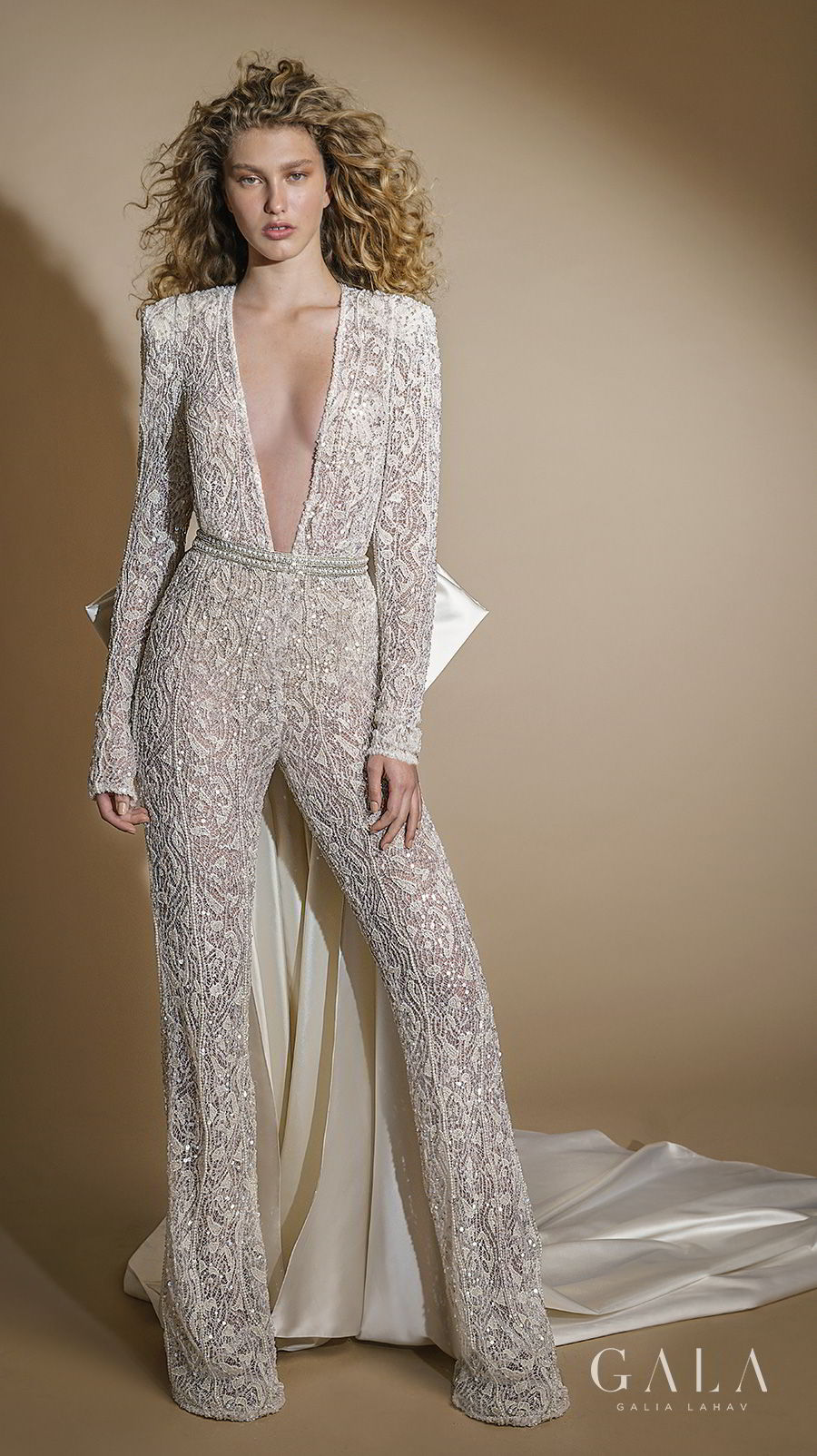 galia lahav gala 2019 bridal long sleeves deep plunging v neck full embellishment glamorous modern sexy chic jumpsuit wedding dress keyhole back chapel train (109) mv