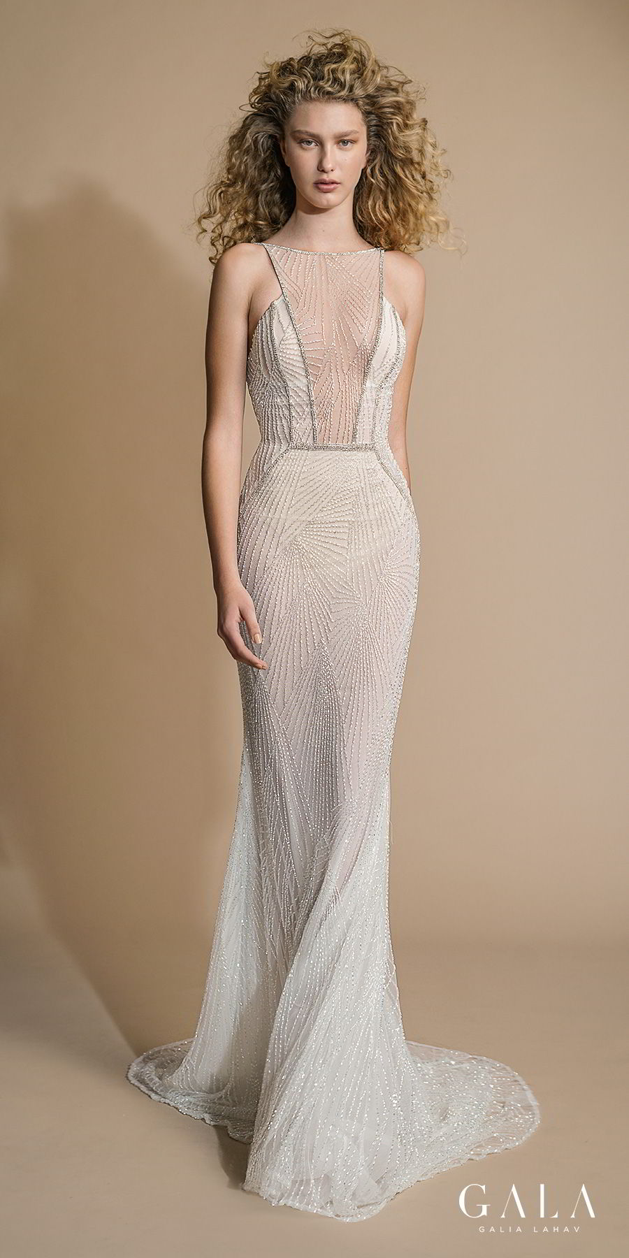 galia lahav gala 2019 bridal sleeveless halter jewel neck full embellishment glamorous art deco sheath wedding dress open back sweep train (110) mv