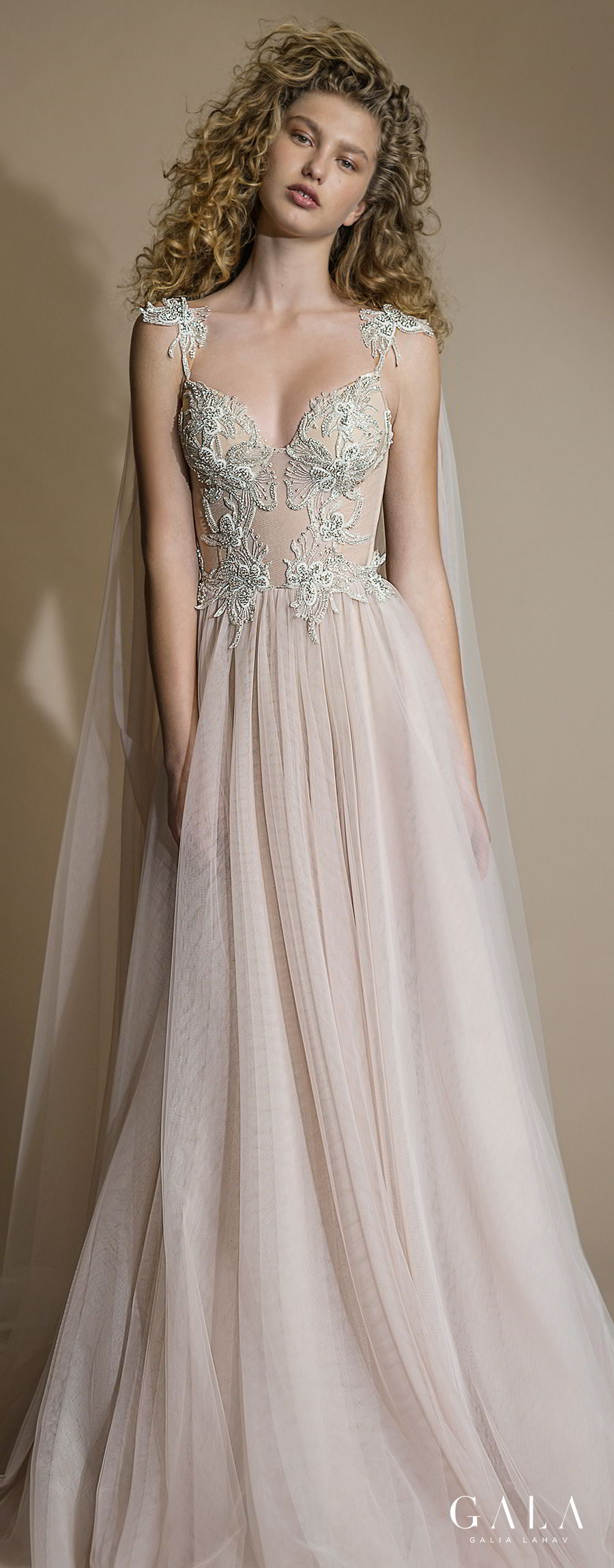galia lahav gala 2019 bridal sleeveless with strap sweetheart neckline heavily embellished bodice bustier tulle skirt romantic blush a  line wedding dress razor back chapel train (111) lv