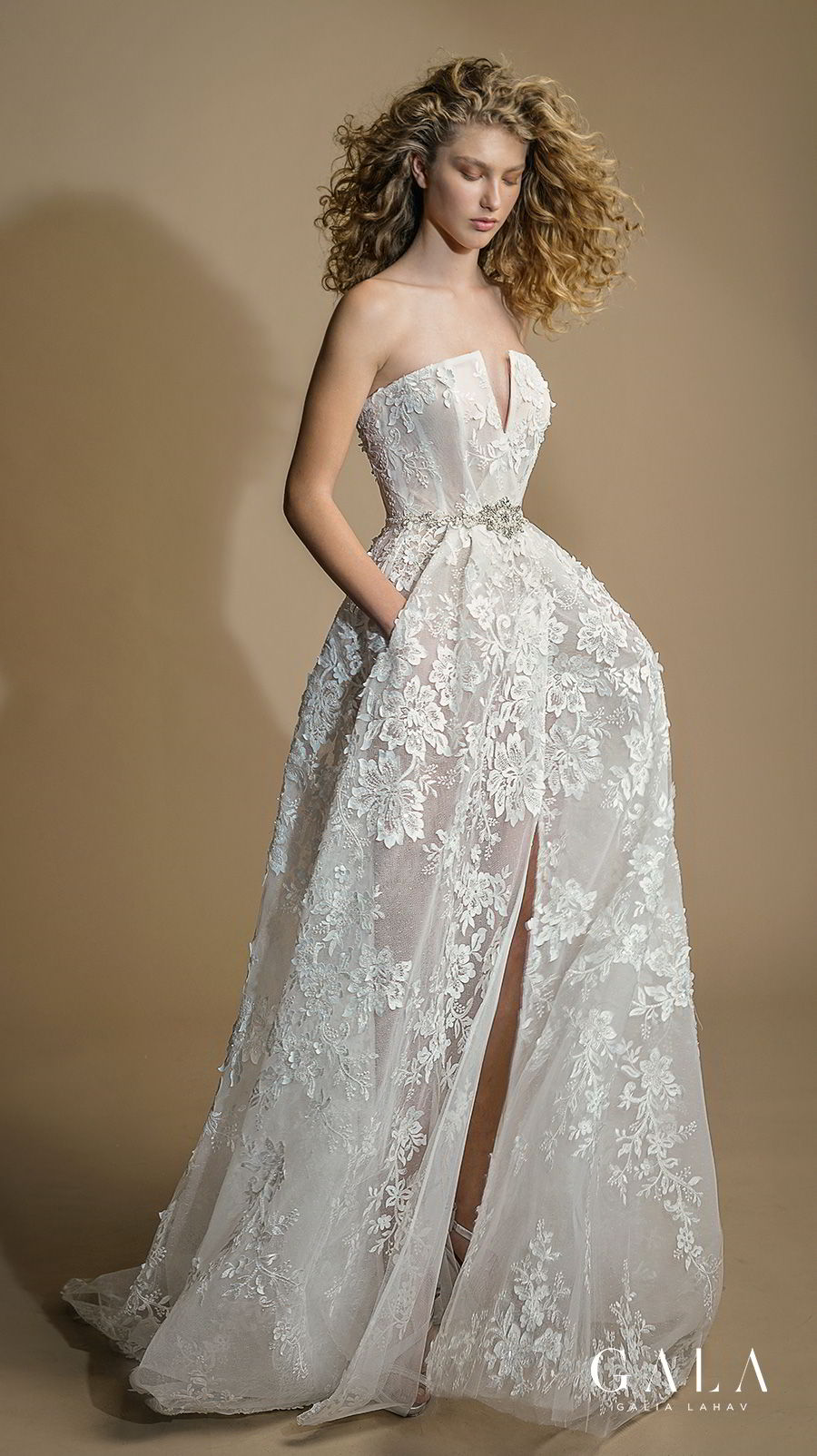 galia lahav gala 2019 bridal strapless straight across neckline full embellishment slit skirt romantic a  line wedding dress with pockets chapel train (107) mv