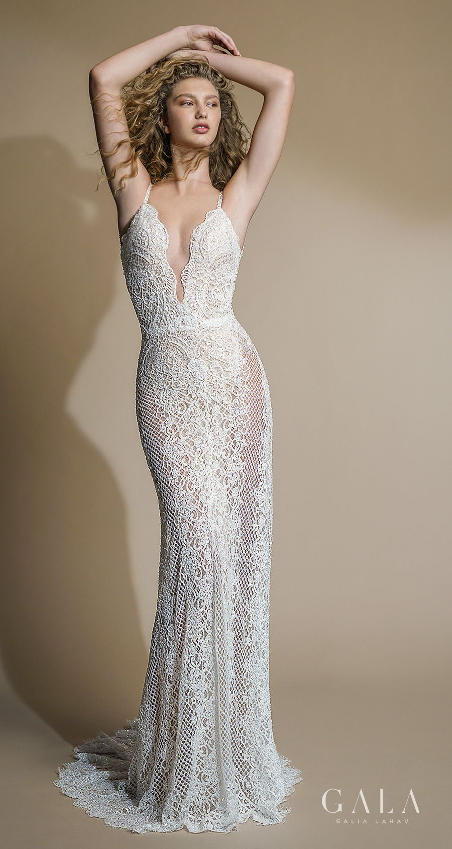 galia lahav gala 2019 bridal thin strap deep plunging v neckline full embellishment sexy elegant fit and flare sheath wedding dress low open back sweep train (105) mv