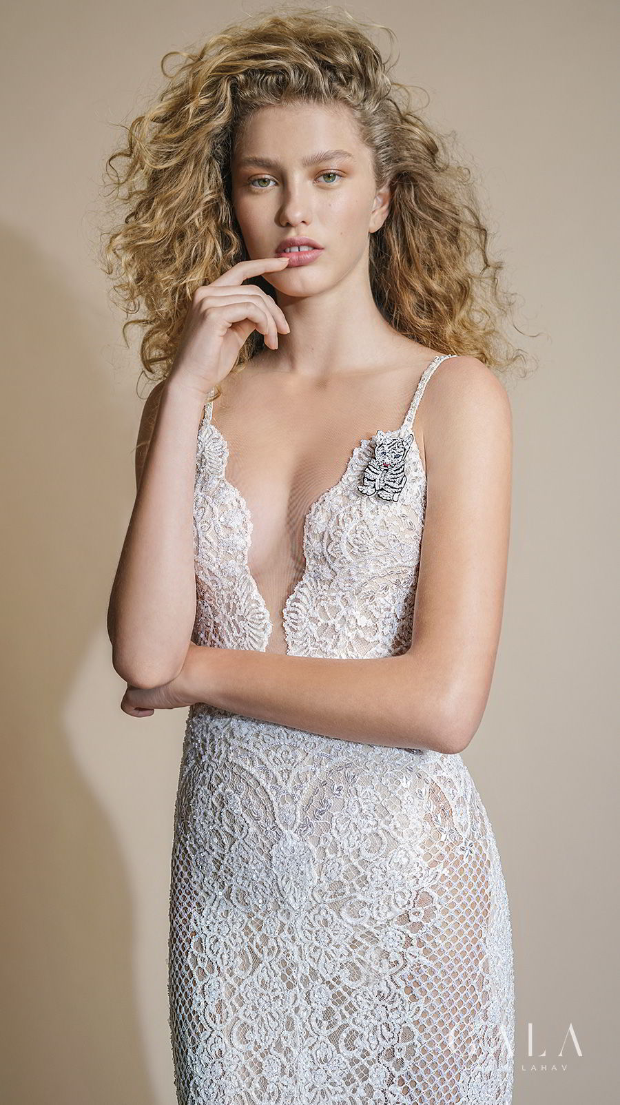 galia lahav gala 2019 bridal thin strap deep plunging v neckline full embellishment sexy elegant fit and flare sheath wedding dress low open back sweep train (105) zv