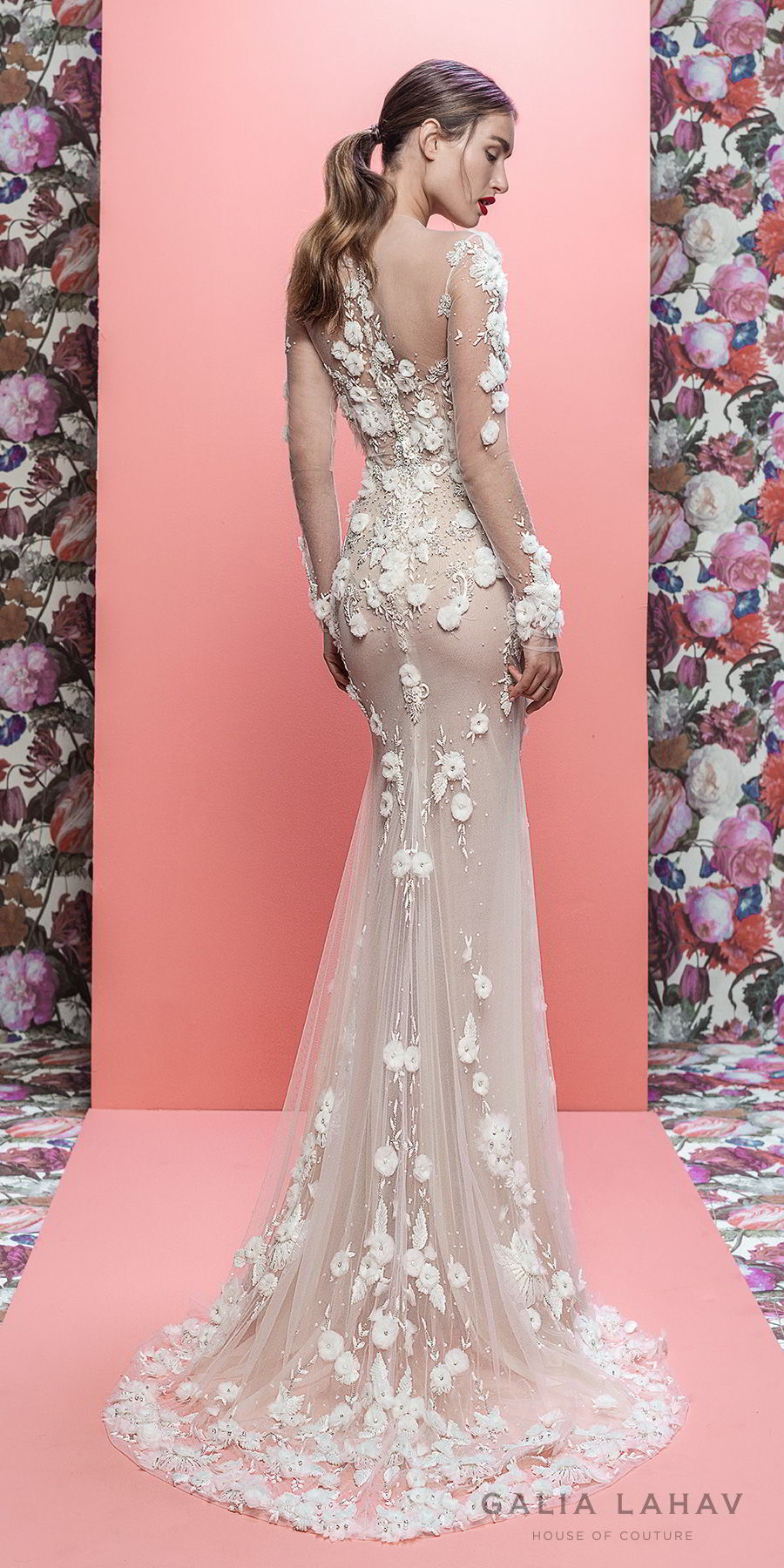 galia lahav spring 2019 bridal long sleeeves sweetheart neckline heavily embellished bodice hem elegant fit and flare wedding dress sheer lace back chapel train (thea) bv
