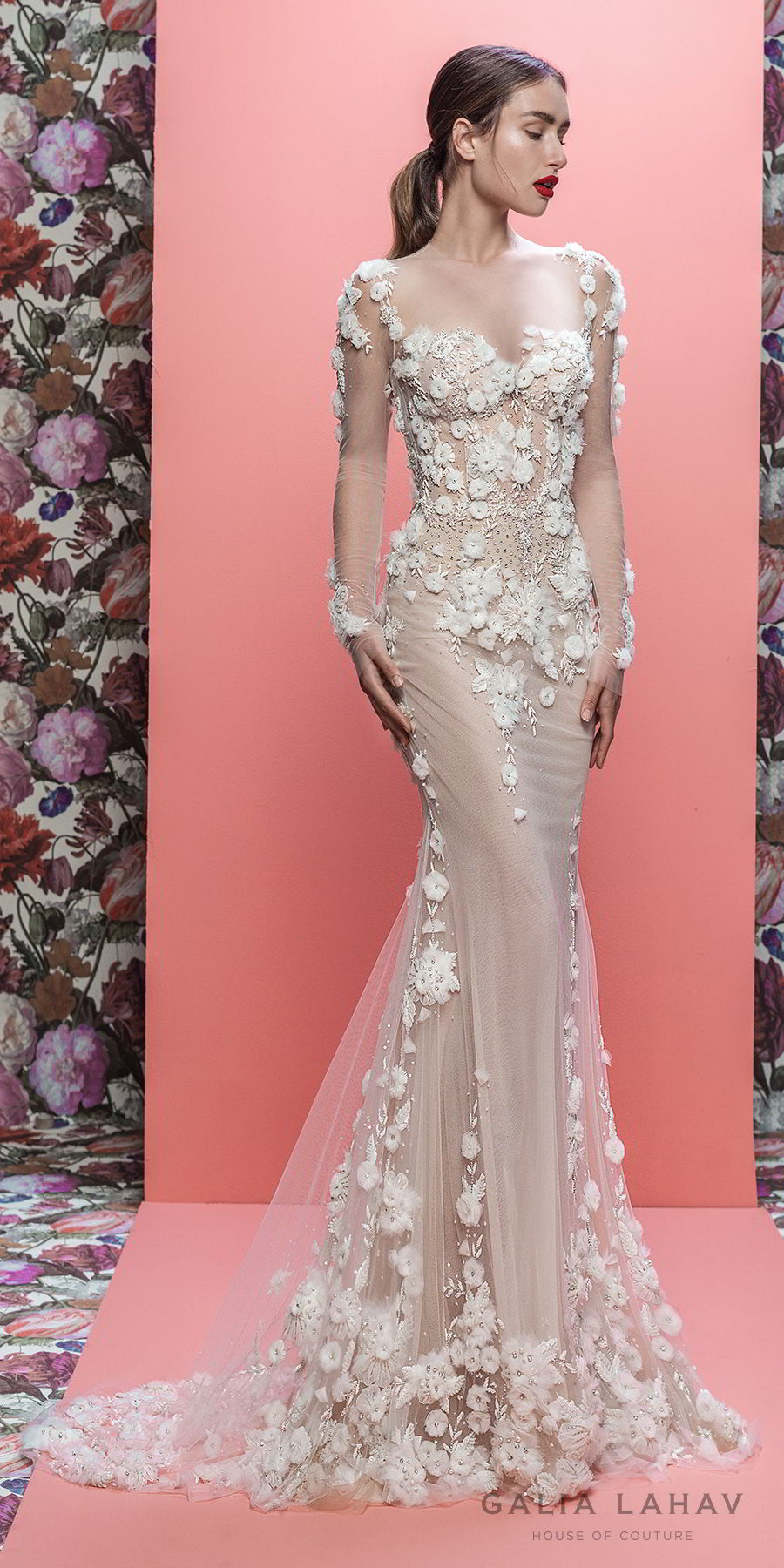 galia lahav spring 2019 bridal long sleeeves sweetheart neckline heavily embellished bodice hem elegant fit and flare wedding dress sheer lace back chapel train (thea) mv