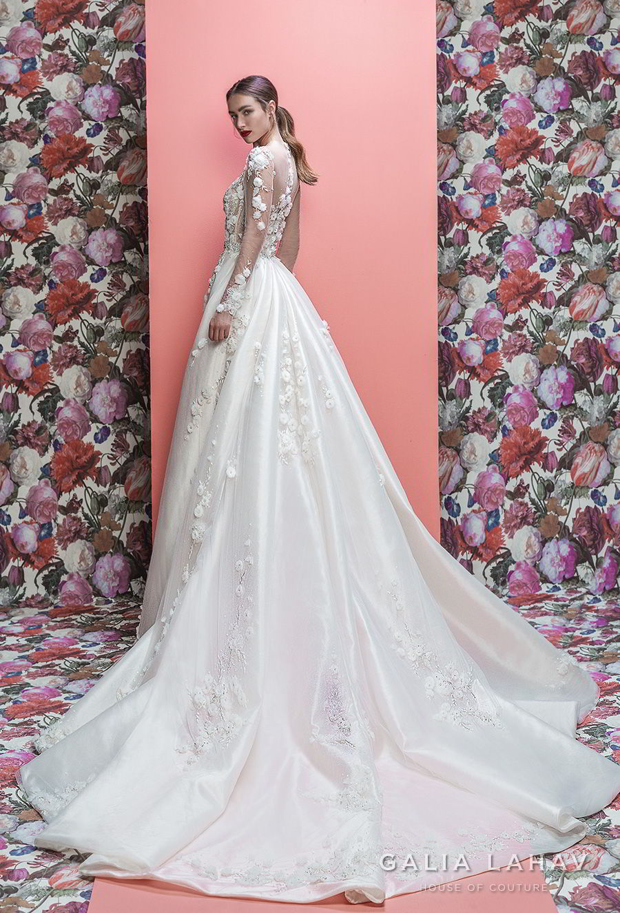 galia lahav spring 2019 bridal long sleeeves sweetheart neckline heavily embellished bodice hem princess fit and flare wedding dress a line overskirt sheer lace back chapel train (thea) bv