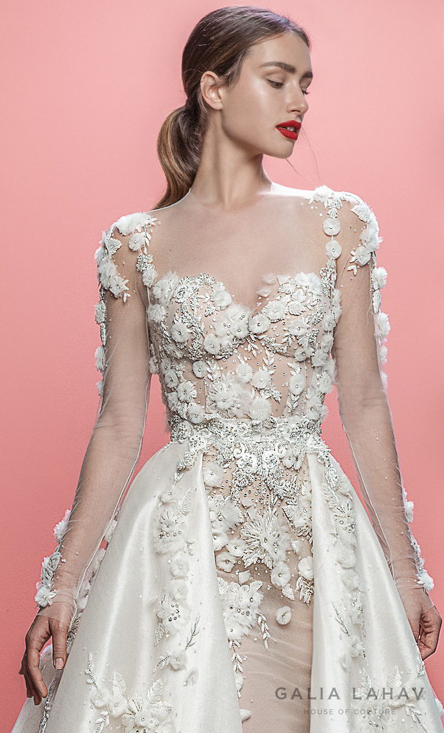 galia lahav spring 2019 bridal long sleeeves sweetheart neckline heavily embellished bodice hem princess fit and flare wedding dress a line overskirt sheer lace back chapel train (thea) zv