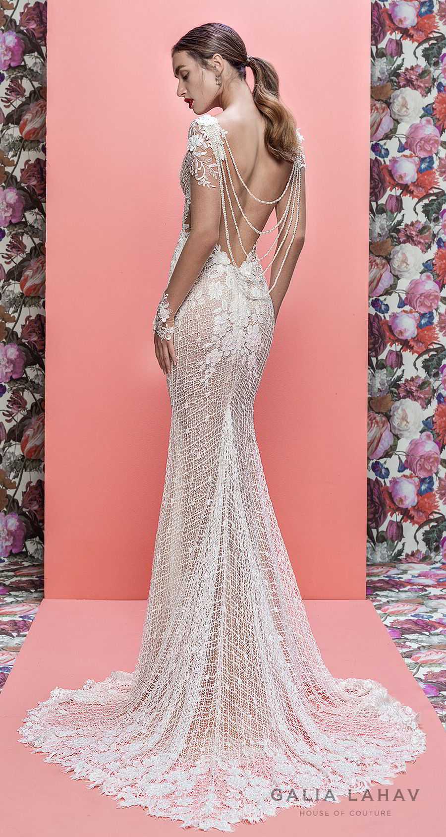 galia lahav spring 2019 bridal long sleeves deep v neck full embellishment elegant fit and flare wedding dress cowl back sweep train (rhainnon) bv