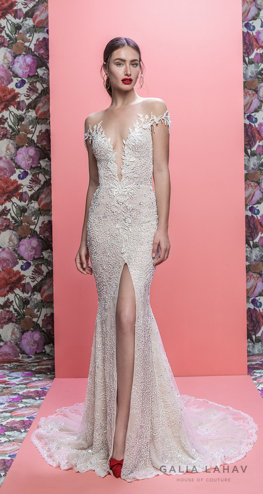 galia lahav spring 2019 bridal off the shoulder deep plugning sweetheart neckline full embellishment slit skirt fit and flare wedding dress keyhole back sweep train (marleigh) mv