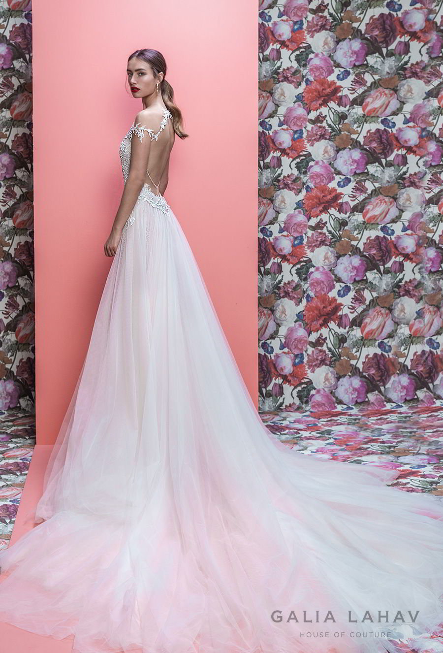 galia lahav spring 2019 bridal off the shoulder deep plugning sweetheart neckline full embellishment slit skirt romantic a line wedding dress keyhole back sweep train (marleigh) bv