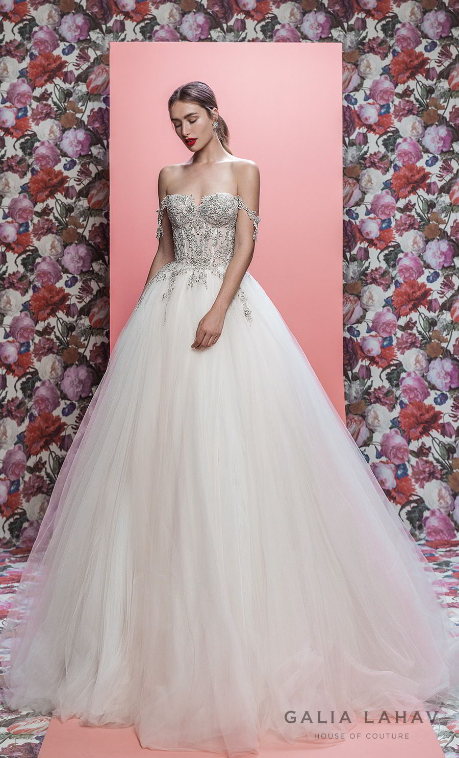 galia lahav spring 2019 bridal off the shoulder sweetheart neckline heavily embellised bodice princess romantic ball gown a line wedding dress chapel train (mia) mv