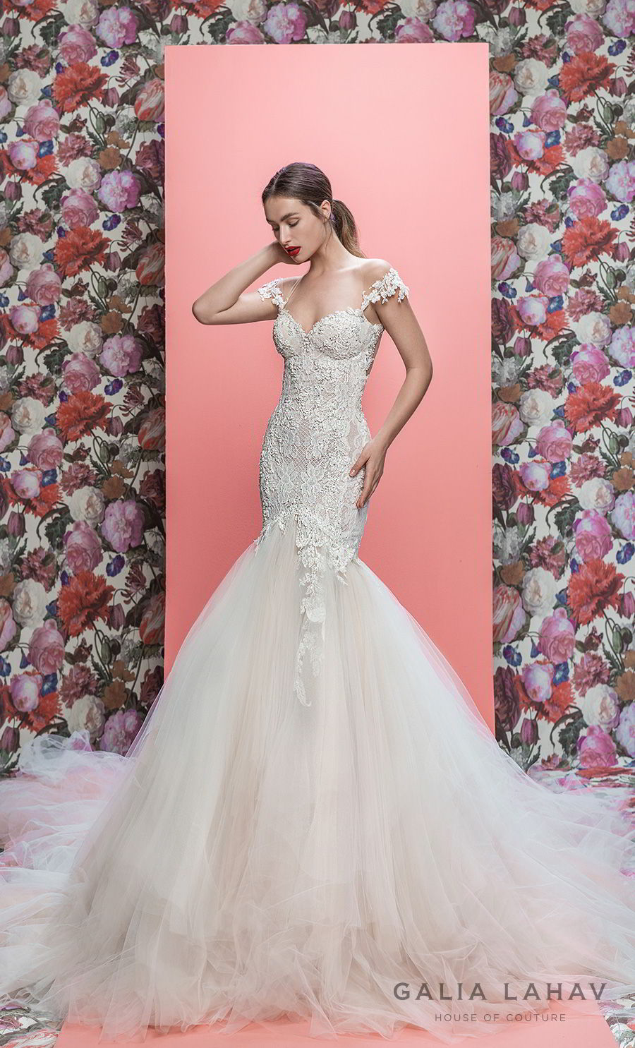galia lahav spring 2019 bridal off the shoulder sweetheart neckline heavily embellished bodice bustier tulle skirt elegant mermaid wedding dress low open back royal train (allegra) mv