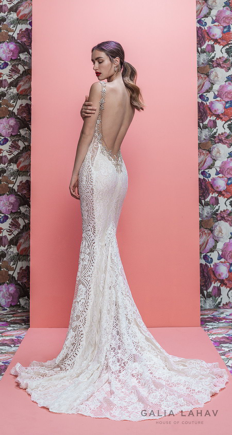 galia lahav spring 2019 bridal sleeveless deep plunging v neck full embellishment elegant sexy fit and flare wedding dress low open back chapel train (luca) bv