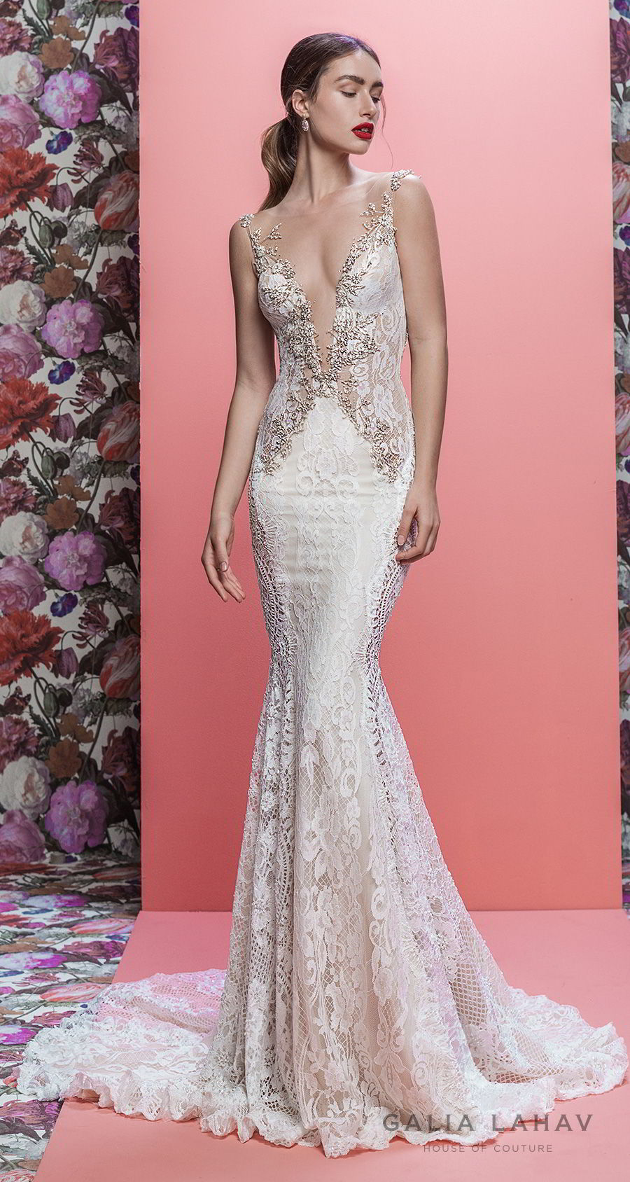 galia lahav spring 2019 bridal sleeveless deep plunging v neck full embellishment elegant sexy fit and flare wedding dress low open back chapel train (luca) mv