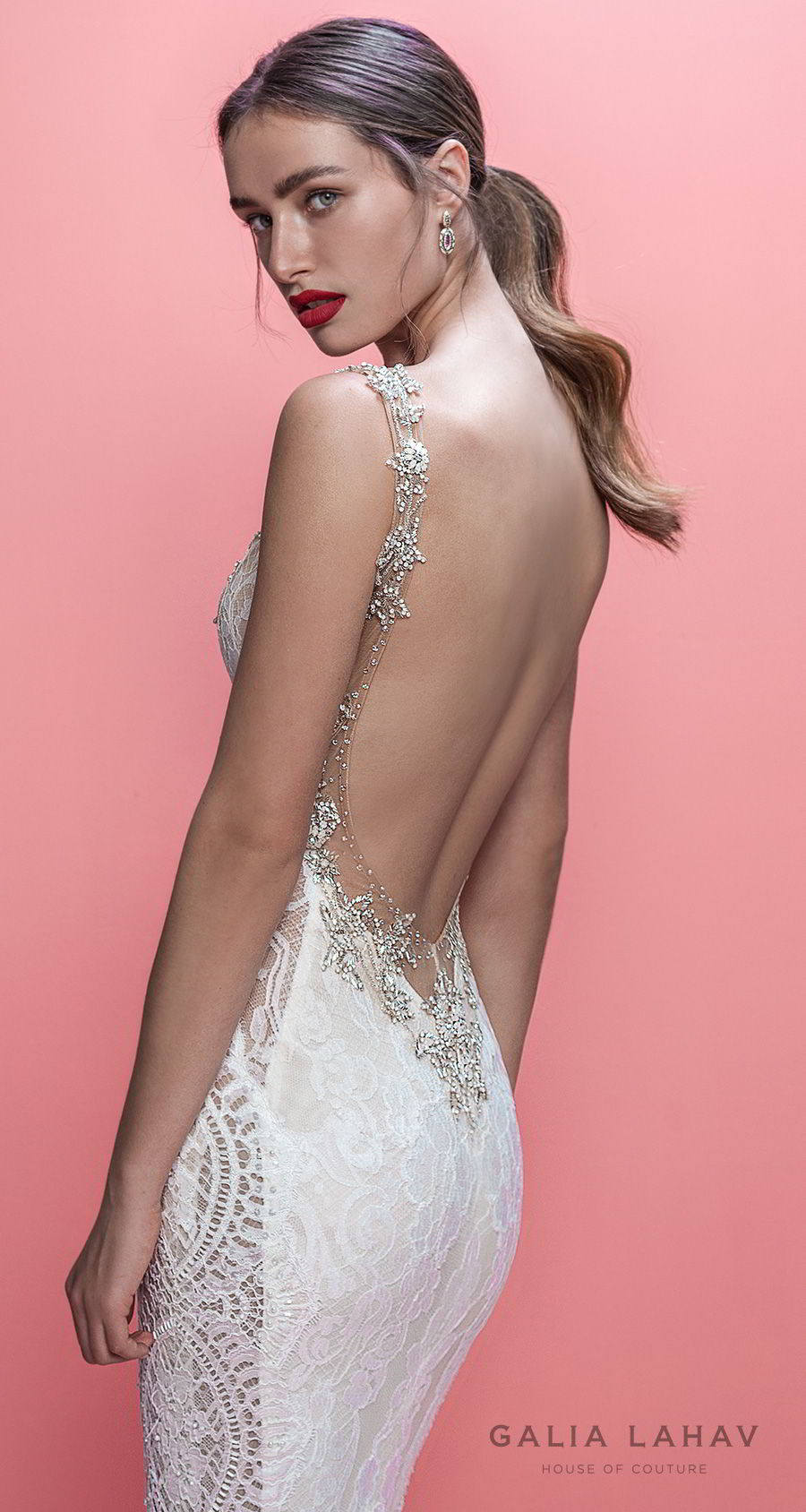 galia lahav spring 2019 bridal sleeveless deep plunging v neck full embellishment elegant sexy fit and flare wedding dress low open back chapel train (luca) zbv