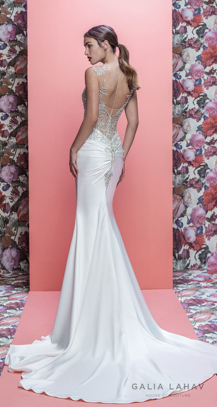 galia lahav spring 2019 bridal sleeveless jewel neck heavily embellished bodice satin skirt elegant glamorous fit and flare wedding dress sheer button back chapel train (emersyn) bv