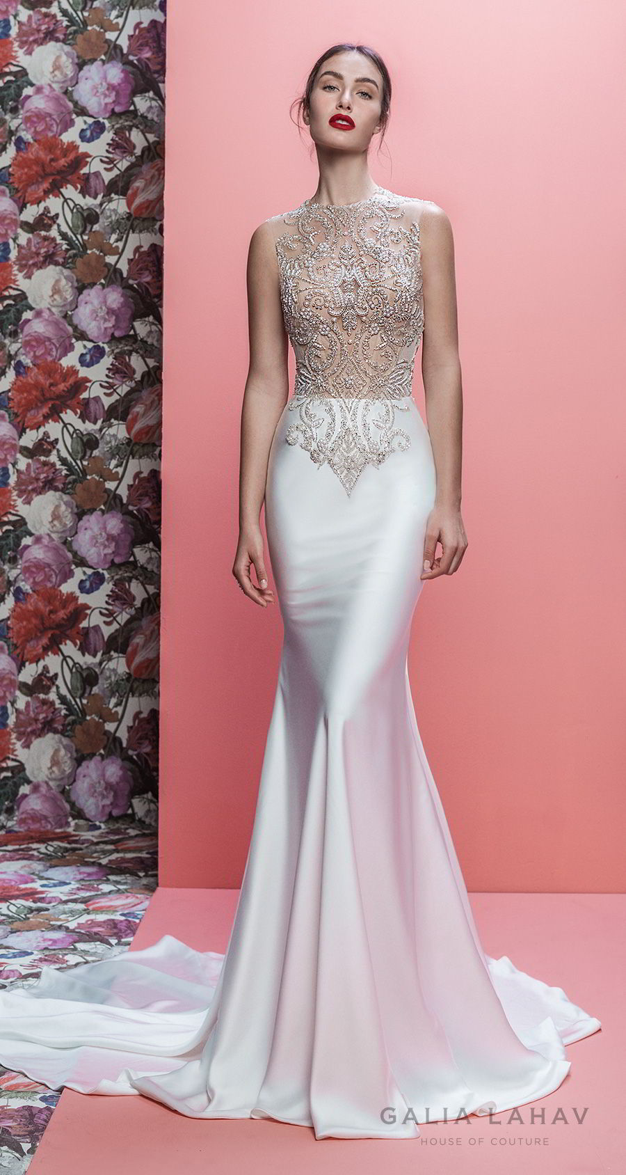galia lahav spring 2019 bridal sleeveless jewel neck heavily embellished bodice satin skirt elegant glamorous fit and flare wedding dress sheer button back chapel train (emersyn) mv