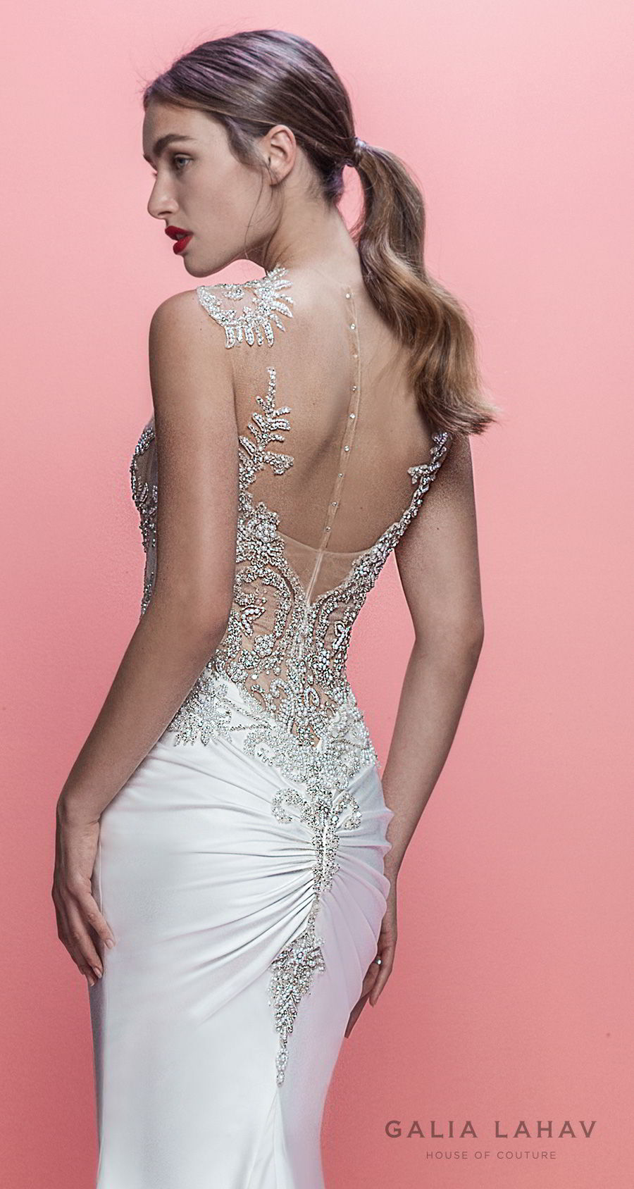 galia lahav spring 2019 bridal sleeveless jewel neck heavily embellished bodice satin skirt elegant glamorous fit and flare wedding dress sheer button back chapel train (emersyn) zbv