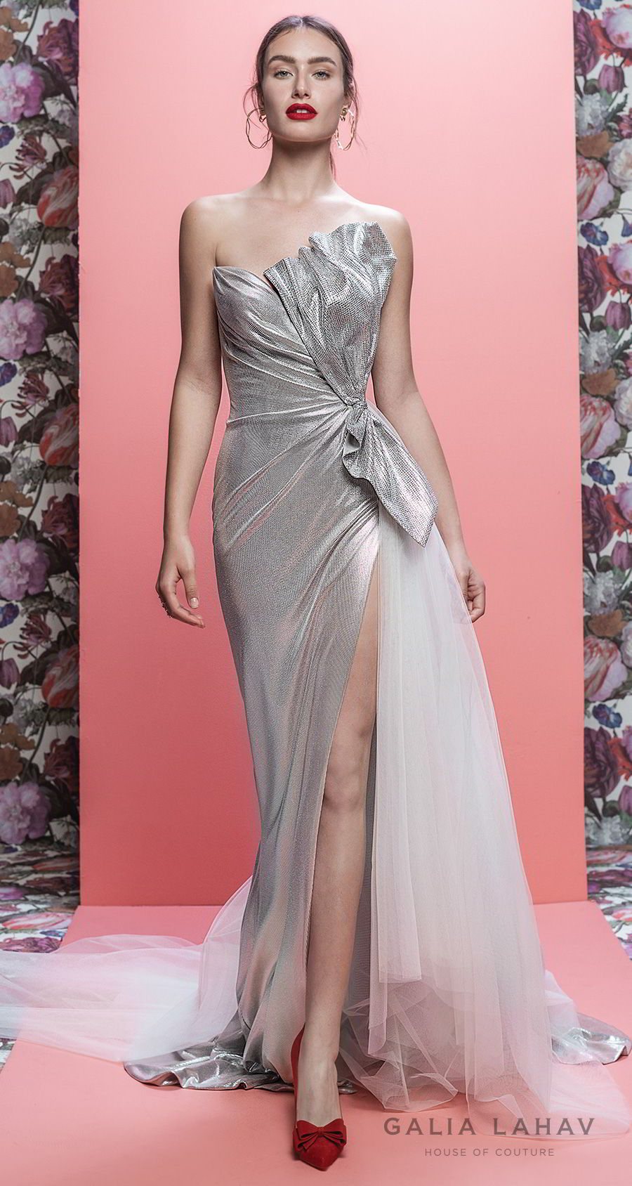 galia lahav spring 2019 bridal strapless asymetrical neckline metallic slit skirt silver color sheath wedding dress chapel train (arden) mv