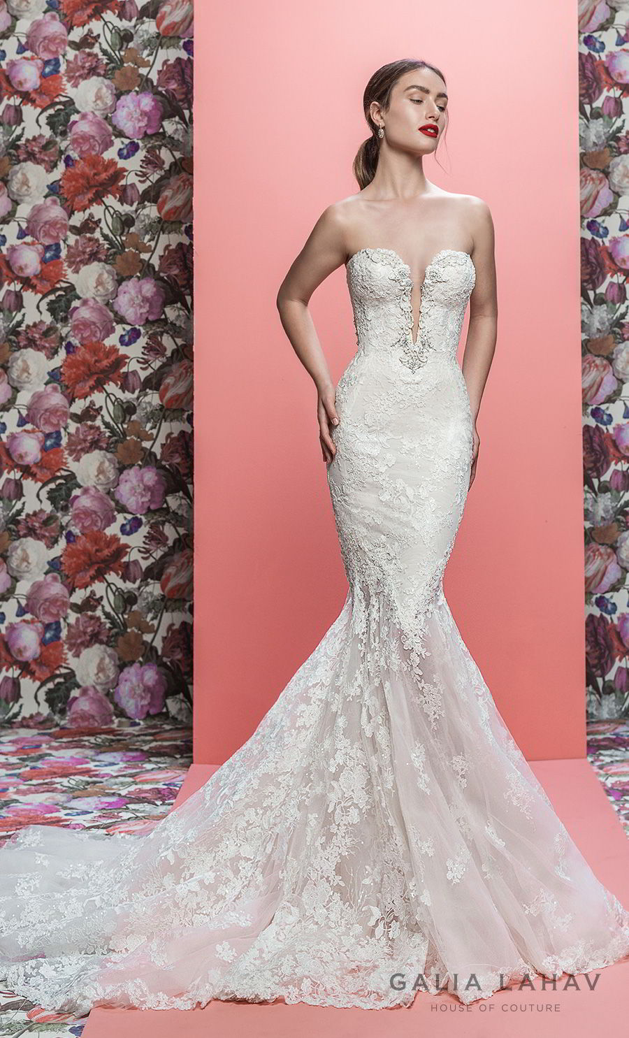 galia lahav spring 2019 bridal strapless deep plunging sweetheart neckline full embellishmet elegant mermaid wedding dress low open back chapel train (lorraine) mv