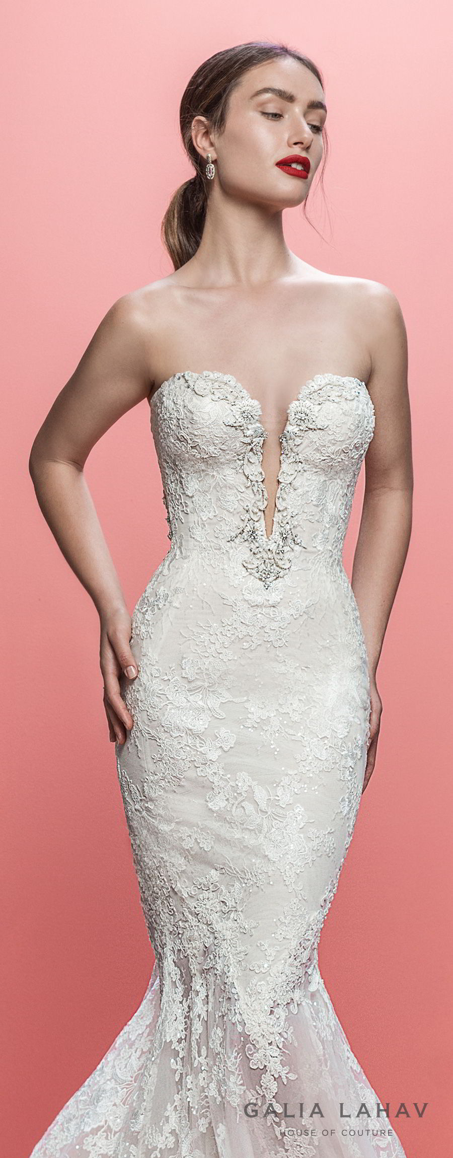 galia lahav spring 2019 bridal strapless deep plunging sweetheart neckline full embellishmet elegant mermaid wedding dress low open back chapel train (lorraine) zv