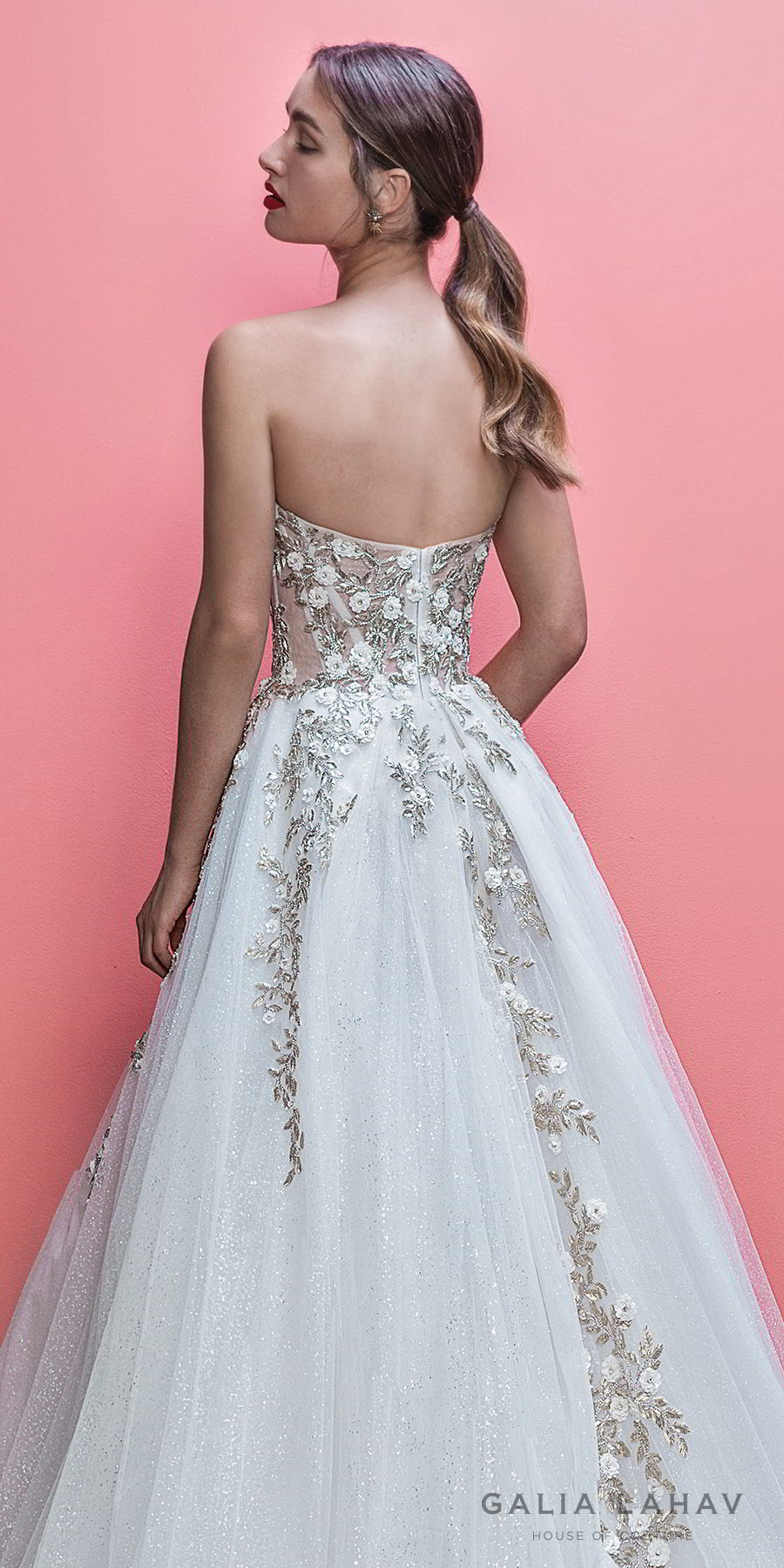 galia lahav spring 2019 bridal strapless sweetheart neckline heavily embellished bodice romantic pretty a line wedding dress royal train (aelin) zbv