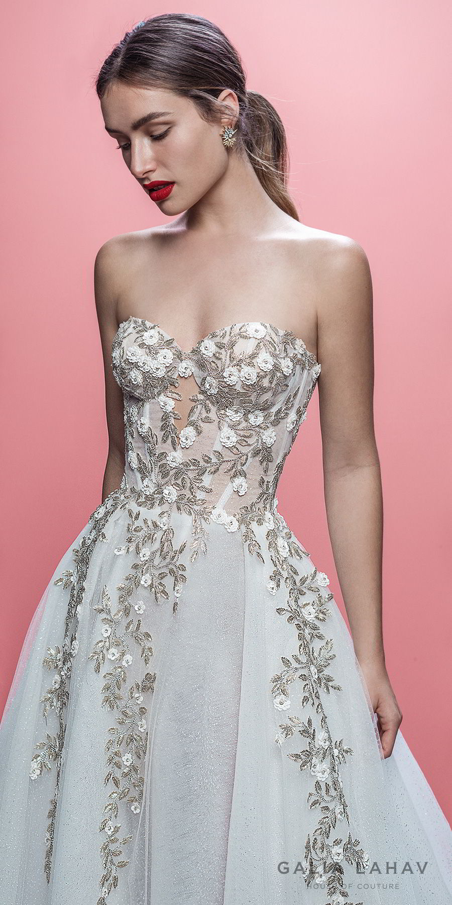 galia lahav spring 2019 bridal strapless sweetheart neckline heavily embellished bodice romantic pretty a line wedding dress royal train (aelin) zv